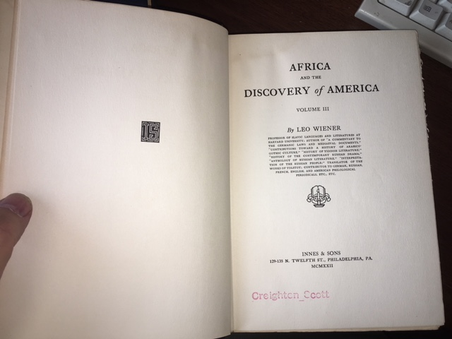 Image for Africa and the Discovery of America. First Edition.  In three volumes.
