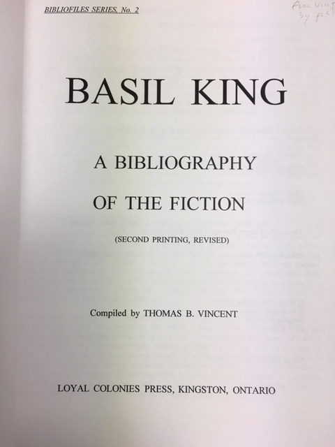 Image for Basil King : A Bibliography of the Fiction.