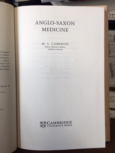 Image for Anglo-Saxon Medicine. First Editon in dustjacket