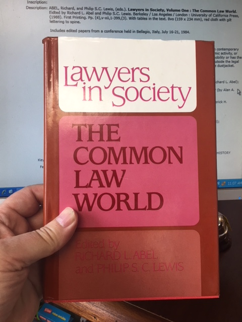 Image for Lawyers in Society, Volume One : The Common Law World.  First Edition in dustjacket.