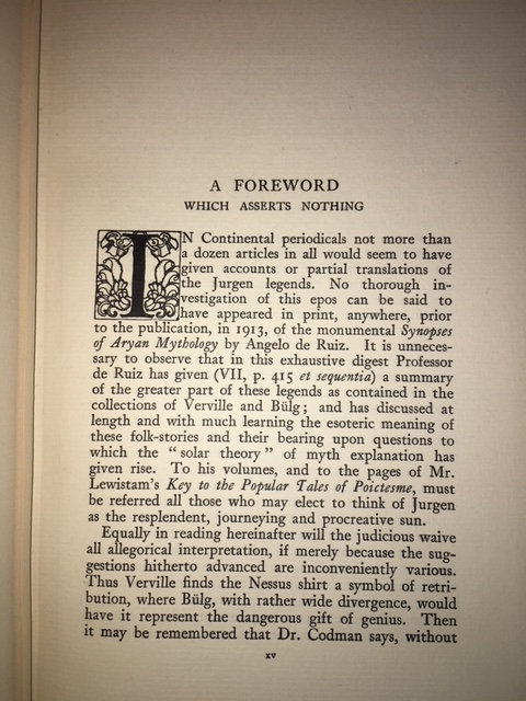 Image for Jurgen : A Comedy of Justice. First British Edition