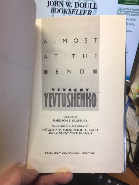 Image for Almost at the End. First American Edition in dustjacket, Signed