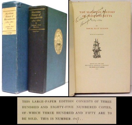Image for Maritime History of Massachusetts 1783-1860. Limited Edition in box