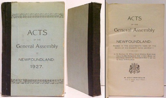 Image for Acts of the General Assembly of Newfoundland 1927