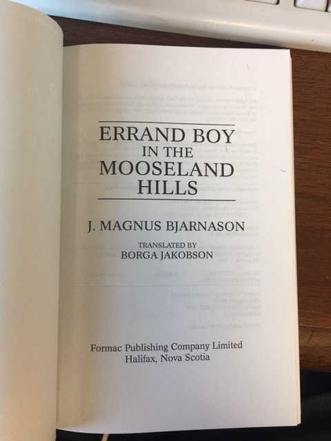 Image for Errand Boy in the Mooseland Hills : Stories from Nova Scotia's Forgotten Icelandic Settlement.  First Edition