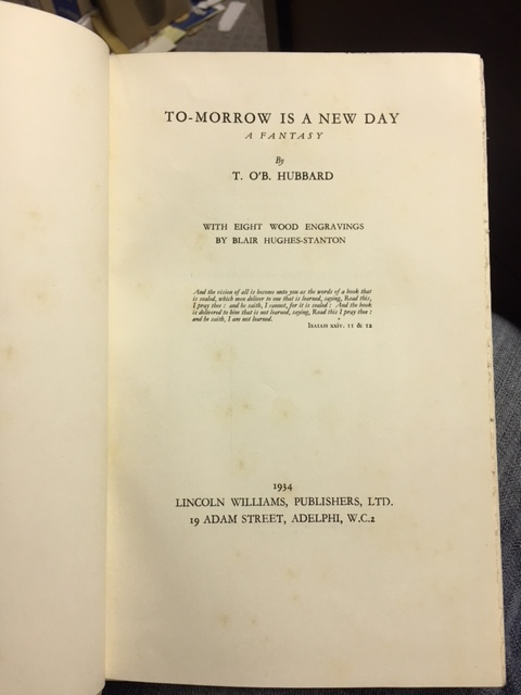 Image for To-Morrow is a New Day : A Fantasy.  First Trade Edition, Illustrated, Signed