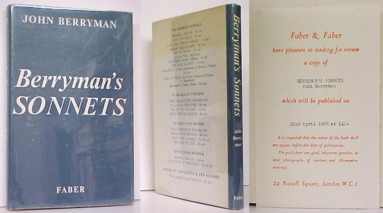 Image for Berryman's Sonnets. First British Edition in dustjacket.