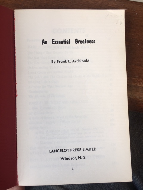 Image for An Essential Greatness.  First Edition
