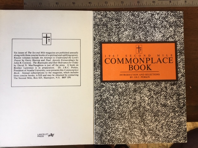 Image for 1987 Second Mile Commonplace Book. First Edition