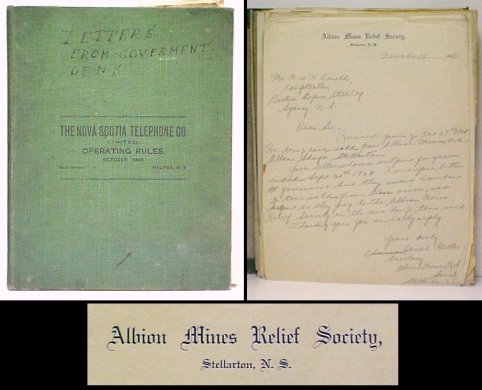 Image for Albion Mines Relief Society Ephemera.  in green cloth binder.