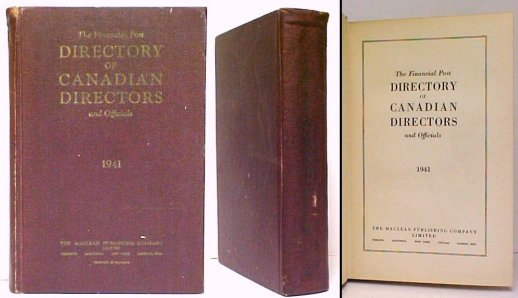 Image for Financial Post Directory of Canadian Directors and Officials 1941