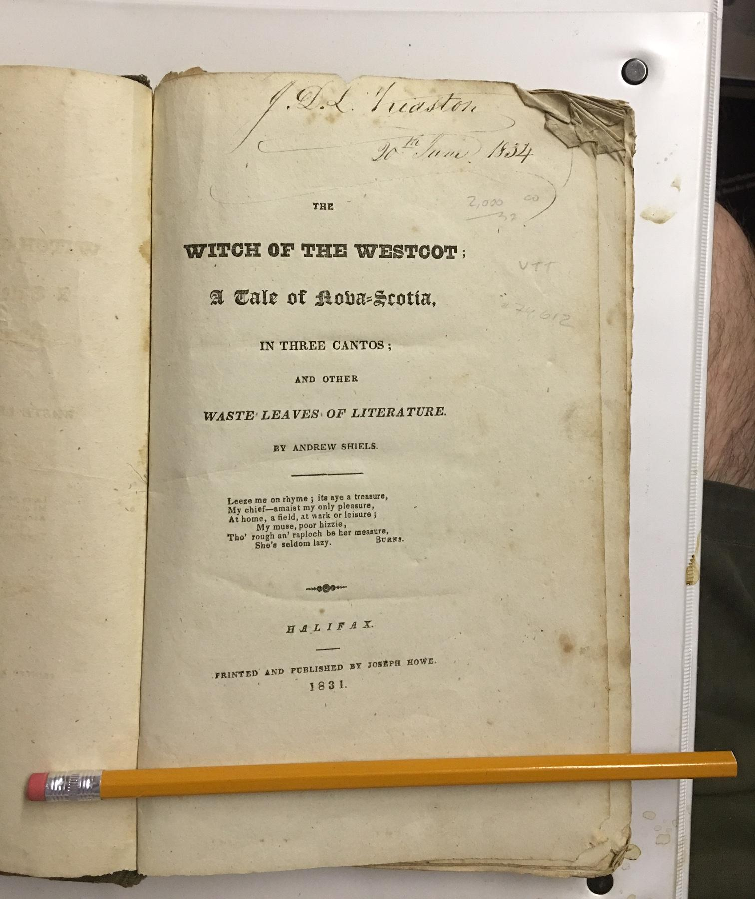 Image for Witch of the Westcot : A Tale of Nova Scotia, in three cantos; and other Waste Leaves of Literature. First Edition
