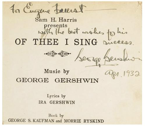 Image for Autographed Musical Score for Of Thee I Sing.  Autograph signed